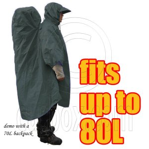 BlueField 2in1 Backpack Rain Cover Rain Coat (fits up to 80L) (OLIVE) #51462
