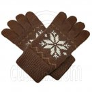 Men's Full Finger Wooly Cuff Gloves w/ Fluffy Lining (BROWN SNOWFLAKE) #51469