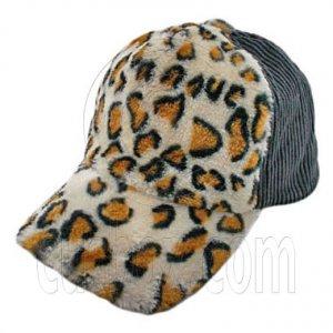 Cheetah Leopard Pattern Baseball Plush Corduroy Cap (GRAY) #51476