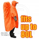 BlueField 2in1 Backpack Rain Cover Rain Coat (fits up to 80L) (ORANGE RED) #51499