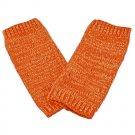 Unisex Fingerless Plain Short Gloves Gorgeous (ORANGE with tiny golden thread) #51351