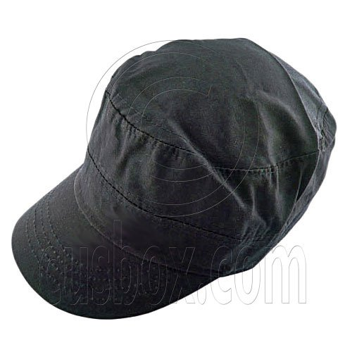 Military Cap with Button (BLACK) #51540