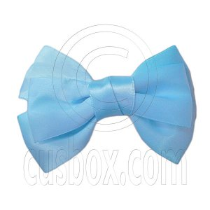 Pair Adorable 4.5inches 11cm Ribbon Bowknot Bow Tie Alligator Hair Clips BABY BLUE #51570