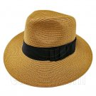 Wide Brim Fedora Braid Trim Hat (BROWN) #51577