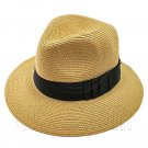 Wide Brim Fedora Braid Trim Hat (LIGHT BROWN) #51578