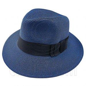 Wide Brim Fedora Braid Trim Hat (DARK BLUE) #51579