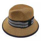 Fedora Style Braid Trim Striped Hat (DARK BROWN) #51581