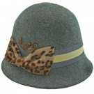 Wool Felt Vintage Style Cloche with Cheetah Bow Hat GRAY #51584