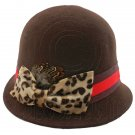 Wool Felt Vintage Style Cloche with Cheetah Bow Hat BROWN #51585