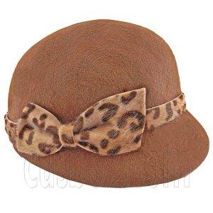 Wool Felt Lady Women Jockey Cap with Cheetah Bowler Hat BROWN #51624