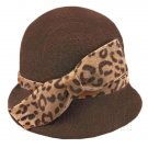 Wool Felt Lady Women Cloche with Cheetah Bowler Hat Thick Brim DARK BROWN #51627