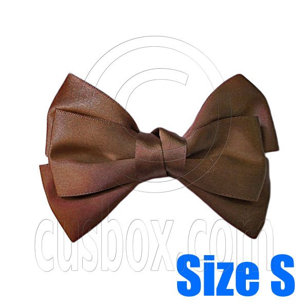 Pair Adorable 3inch 8cm Ribbon Bowknot Bow Tie Alligator Hair Clips Small COFFEE BROWN #51638
