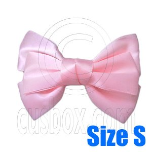 Pair Adorable 3inch 8cm Ribbon Bowknot Bow Tie Alligator Hair Clips Small BABY PINK #51647