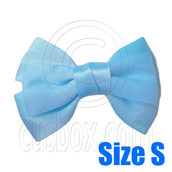 Pair Adorable 3inch 8cm Ribbon Bowknot Bow Tie Alligator Hair Clips Small BABY BLUE #51651