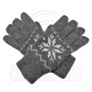 Men's Full Finger Wooly Cuff Gloves w/ Fluffy Lining (GRAY SNOWFLAKE) #51652