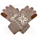 Men's Full Finger Wooly Cuff Gloves w/ Fluffy Lining (MEDIUM BROWN SNOWFLAKE) #51654