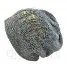 Warm Double Layer Wooly Slouchy Beanie Hat w/ Striped Pattern (DARK GRAY green)# 51673