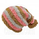 Unisex Striped Soft Slouchy Beanie Hat Christmas Party Crown (BROWN pink gray)# 51690