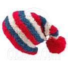 Unisex Striped Soft Slouchy Beanie Hat Christmas Party Crown (RED blue white)# 51691