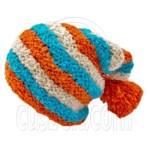 Unisex Striped Soft Slouchy Beanie Hat Christmas Party Crown (ORANGE blue beige)# 51693