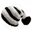 Unisex Striped Soft Slouchy Beanie Hat Christmas Party Crown (BLACK gray white)# 51694