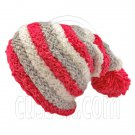 Unisex Striped Soft Slouchy Beanie Hat Christmas Party Crown (PINK gray white)# 51695