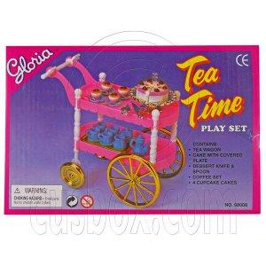 Pink Food Cart Tea Wagon Dessert Set 1/6 Barbie Doll's House Dollhouse Miniature #12450