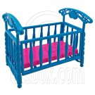 Blue Nursery Crib Cradle Bed 1/6 Barbie Kelly Doll's House Dollhouse Furniture #12593