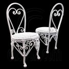 Pair 2x White Wire Round Coffee Cafe Chair 1/12 Doll's House Dollhouse Furniture #12352