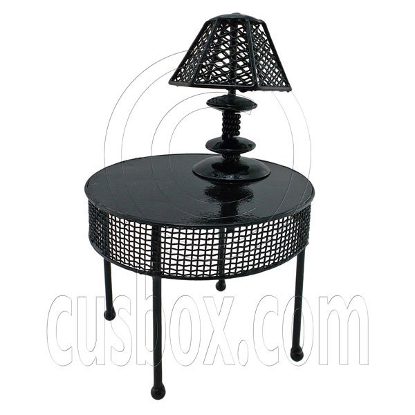 Black Wire Round Coffee Dining Table Lamp 1:12 Doll's House Dollhouse Furniture #12363