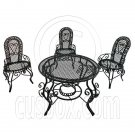 Black Wire 3 x Chairs Oval Table Set Combo 1/12 Doll's House Dollhouse Furniture #12481