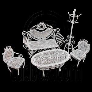 Set White Sofa Chair Table Hat Rack 1/12 Doll's House Dollhouse Furniture 5pcs #12516