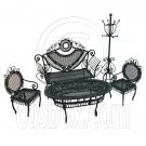 Set Black Sofa Chair Table Hat Rack 1/12 Doll's House Dollhouse Furniture 5pcs #12550
