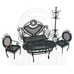 Set Black Sofa Chair Table Hat Rack 1/12 Doll's House Dollhouse Furniture 5pcs #12550