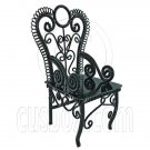 Black Wire Queen Ann Coffee Cafe Arm Chair 1/12 Doll's House Dollhouse Furniture #12553