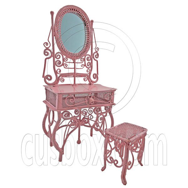 Pink Wire Vanity Mirror Chair New Set 1/12 Doll's House Dollhouse Furniture MIB #12579