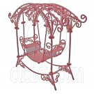 Pink Wire Rocking Chair Bench Swing Seat 1/12 Doll's House Dollhouse Furniture #12590