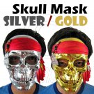 Gold / Silver Plating Skull Pirate Adult Uni-Sex Party Halloween Full Face Mask #11994