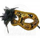 Golden Black Floral Mardi Gras Venetian Masquerade Face Eye Mask Party Halloween #12565