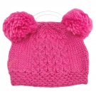 Warm Plain Wooly Beanie w/ Two Small Top Lovely Poms (HOT PINK) #51732