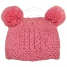 Warm Plain Wooly Beanie w/ Two Small Top Lovely Poms (PINK) #51733