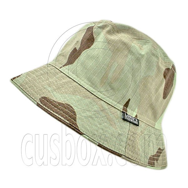 Reversible Outdoor Plain Bucket Hat (Dark Green Desert Camo / Khaki) #51740