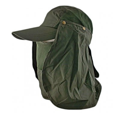 Long Neck Flap /w Face Mask Mesh Cap Hat Fishing Hiking (OLIVE) #51759