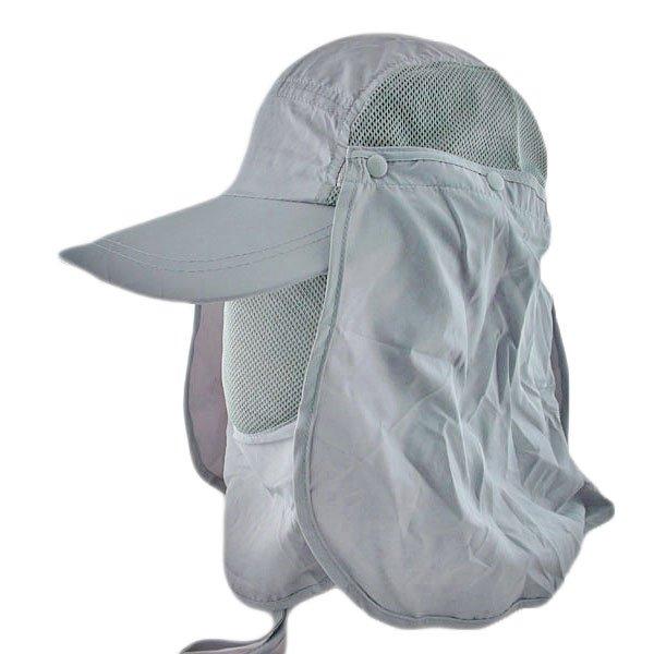 Long Neck Flap /w Face Mask Mesh Cap Hat Fishing Hiking (GRAY) #51761