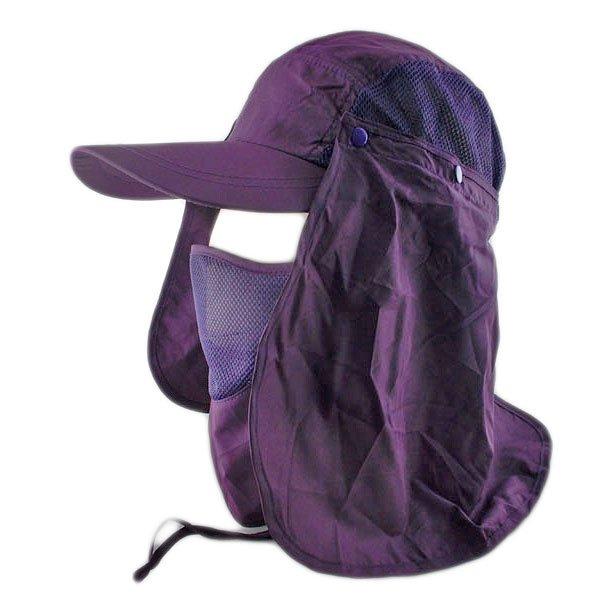Long Neck Flap /w Face Mask Mesh Cap Hat Fishing Hiking (DARK PURPLE) #51762