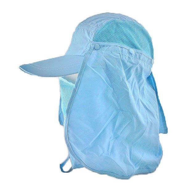 Long Neck Flap /w Face Mask Mesh Cap Hat Fishing Hiking (BABY BLUE) #51767