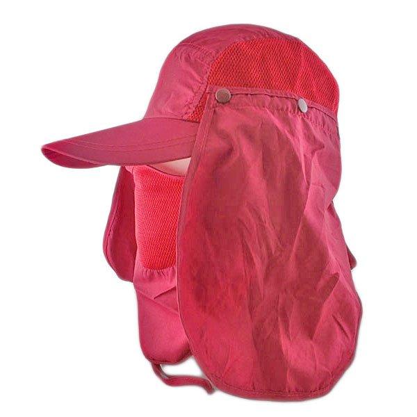 Long Neck Flap /w Face Mask Mesh Cap Hat Fishing Hiking (BURGUNDY RED) #51768