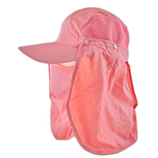 Long Neck Flap /w Face Mask Mesh Cap Hat Fishing Hiking (SALMON PINK) #51772