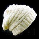 Plain Beanie with Mini Stripe Pattern Unisex Winter Hat BEIGE WHITE #50040
