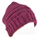 Plain Beanie with Mini Stripe Pattern Unisex Winter Hat BURGUNDY RED #51786